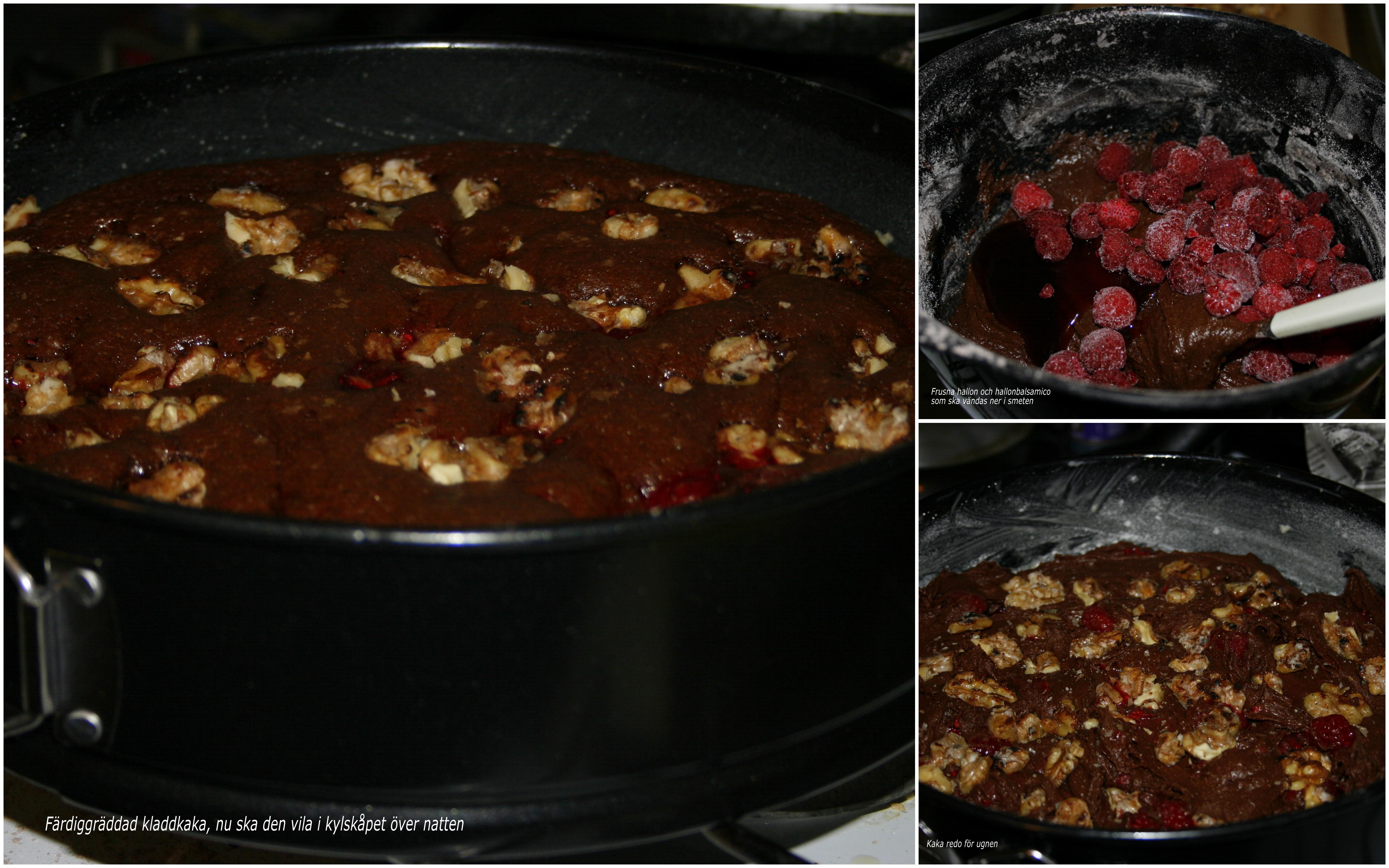 Kladdkaka med hallonbalsamico och karamelliserade valnötter1