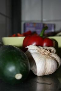 squash, paprika och vitlök